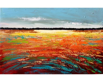 landscape painting ORIGINAL abstract landscape trees horizon sunset acrylic impressionism  gold red  aqua rust Canvas 24x36