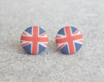Union Jack Fabric Button Earrings