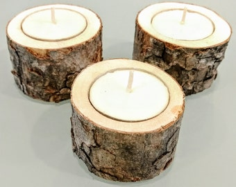 Rustic Wood Candle Holder, Set of 3
