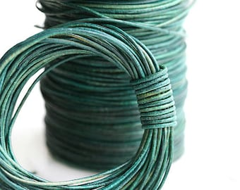 1mm Round Natural Leather cord - Vintage Turquoise Green - 10 feet, LC010