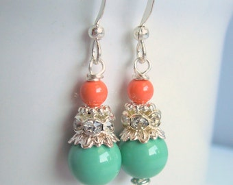 Coral and Mint Bridesmaid Earrings - Pearls and Crystals - Rhinestone - Sterling Silver Option - Bridesmaids Jewelry