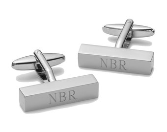Personalized Cufflinks - Personalized Cufflink Bars - Engrave Bar cufflinks - Groomsmen Gifts - Monogrammed Cufflinks - GC798