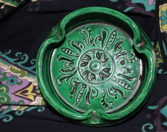 Antique Old Authentic Enameld Ceramic Green Pottery ashtray
