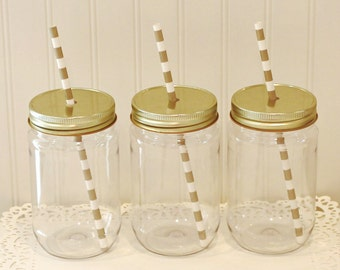 Plastic Mason Jars, 10 Plastic Mason Jars & Metal Lid with Straw Hole, Mason Jar Cups, Plastic Lemonade Jar, Kids Plastic Cup, Tumbler 17 Oz