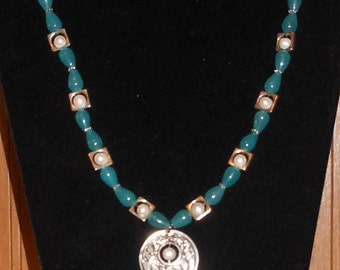 """20.5"""" Aquamarine, Apatite, Pearl & Tibetan Silver Necklace with Earrings. #176"""