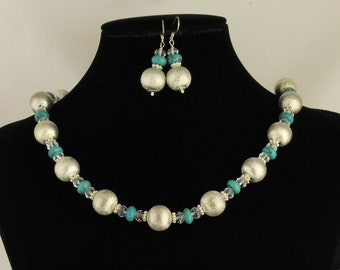 Turquoise and Non Tarnish Silver Plated Bead Necklace. Listing 86142350
