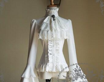 Gothic Pirate Lolita Wide Double Layer Cuffs Blouse&Jabot