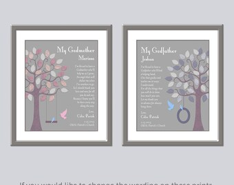 Godparent Prints - Set of 2 - Gift From Godchild to Godmother and Godfather - Godparents Gift Christening - Godparents Baptism Gift