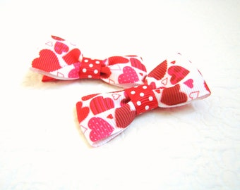 Toddler Valentine's hair clips Baby heart hair clips Infant Valentine's hair clips Heart hair bows Valentine's gift Heart ribbon bows baby