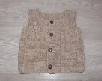 Baby vest 6 months old linen color hand-knitted - birth gift