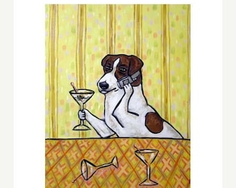 25% off Jack Russell Terrier at the Martini Bar Dog Art Print