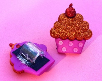 Tube Trinkets: Glittery Pink and Orange Cupcakes!  Select quantity 2 for a pair!