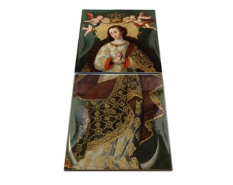 Religious art - The Immaculate Conception - ceramic and wood icon - religious gifts - Cuzco School - Colonial Art - Virgin Mary icons