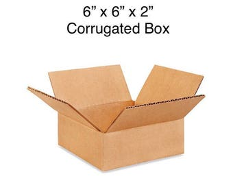 6x6x2 Shipping Mailing Box.  Lot of 5, 10 or 20 corrugated mailer envelope bin crate.  Holds up to 40 lbs.