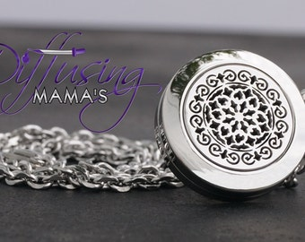 Essential Oil Diffuser Necklace - The Moroccan (20MM) Silver - E2