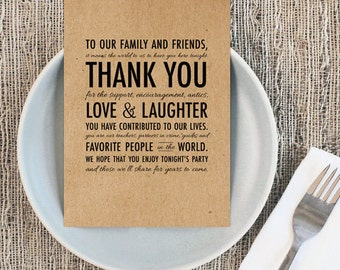 Rustic Wedding Printable - Thank You Place Setting