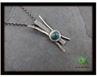 Turquoise Necklace Sterling Silver Pendant Necklace Adjustable Necklace