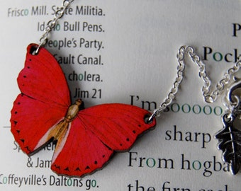Red Glider Butterfly Necklace | Red Butterfly Necklace | Cute Butterfly Charm Necklace | Wooden Insect Necklace