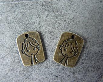 2 pendant bronze metal boy charms