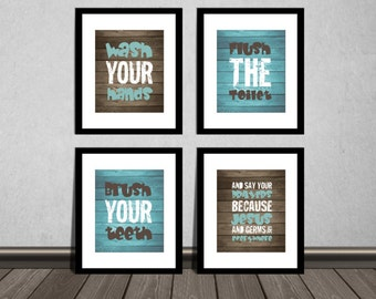 Wash your hands, brush your teeth and say your prayers, Bathroom wall decor, Nursery DIY printable. Print it yourself.