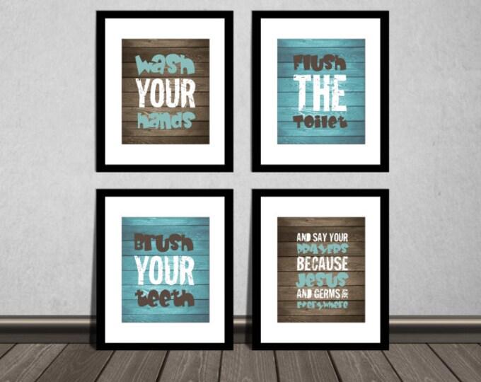 Wash your hands, brush your teeth and say your prayers, Bathroom wall decor, Nursery DIY printable. Print it yourself.