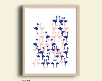 Wall decor for kids art prints Flamingo pattern pink and blue decor abstract wall art instant download printable art minimalism decor poster