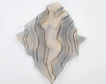 Metal wall sculpture, Nude woman sculpture, wire mesh sculpture, home decor, metal art,  sexy woman torso
