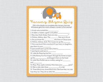 Elephant Baby Shower Nursery Rhyme Quiz Game in Orange and Gray - Printable Instant Download - Orange and Gray Elephant Baby - 0024-O