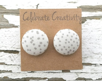 """Fabric Button Post Stud Earrings - Gray Grey Dots with White Background - 5/8"""""""