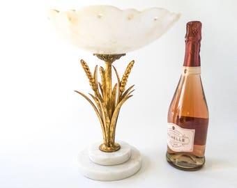 Vintage Tall Italian Tole Gold Gilt Wheat Sheaf Marble Pedestal Bowl