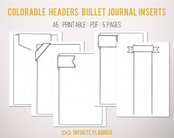 Cute Page Template - 5 pages - Bullet Journal Printable