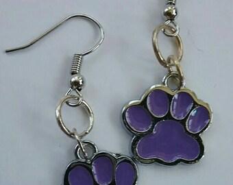 Opt to Adopt Purple Paw Print Charm Earrings
