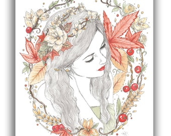 Autumn Fairy in Flowers and Leaves A5 Illustration Print