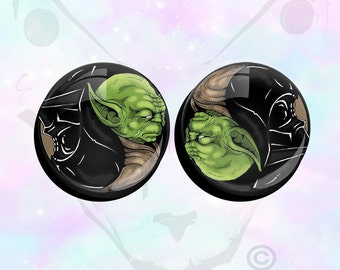 "PAIR Big Size Stars Wars Yoda Darth Vader  Ear Plugs up to 50mm (2"")"