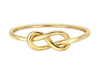 14k gold knot ring, solid gold, dainty knot