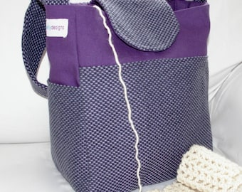 Purple, upholstery, canvas, wool, Knitting Bag, VEGAN, Vinyl Interior, Lots of Pockets, girl's bag, crochet organizer, knitting project