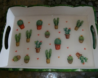 Tray, serving tray, cactus, 30 X 22 CM, for serving coffee