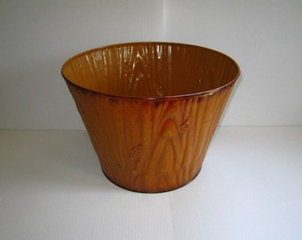 Wood Grain Painted Tin Bin