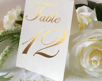 Fancy A-Shape Wedding Table Number Signs, Golden Print Numbers Double Sided Table Cards, Tented Table Decor, Tented Table Numbers