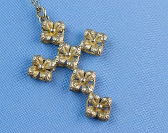 Necklace Floral Silver Cross Medium Vintage Continental European Mid 20th Century