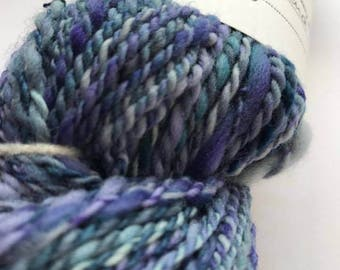Hand Spun Merino and Silk Blend - Hues of Blues 92g