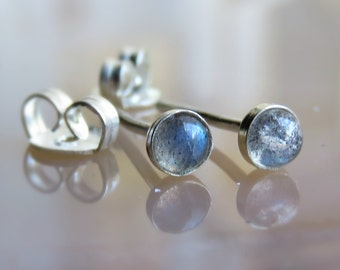 3MM Labradorite Stud Earrings, small labradorite stud earrings, Gemstone Earrings - Tiny post earrings