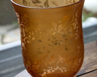 Vintage AMBER Acid Etched SATIN Glass Footed VASE with Victorian Pattern