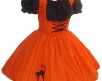 Witch Halloween Costume Dress Salem Witch Womens Adult Orange Black Cat Custom Size including Plus Sizes Handmade High Quality