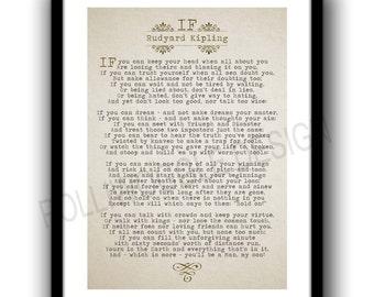 If Poem, Rudyard Kipling. Art print, wall decor, inspiration, motivation  typography, Classic literature