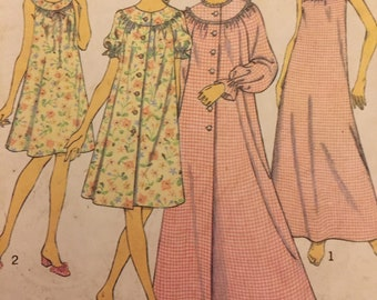 Original Vintage 70s Style Pattern 3734 for a Nightdress and Housecoat