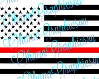 American Flag Firefighter Red Line SVG