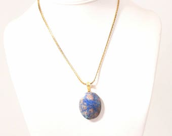Blue Sodalite Slice Pendant Necklace Vintage Marbled Veined Stone Oval Chunky