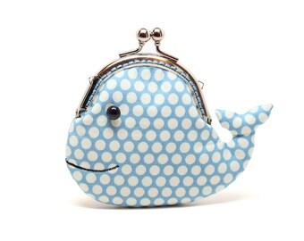 Cute cerulean blue whale clutch purse