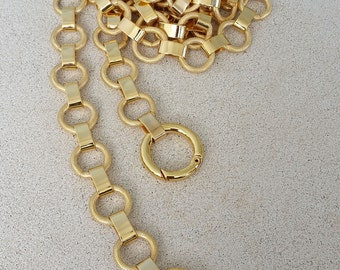 """Elegant Textured Ring Chain - GOLD Chain Handbag Strap - 12"""" to 60"""" (inches) LONG - 5/8"""" (.625 inch) Wide"""